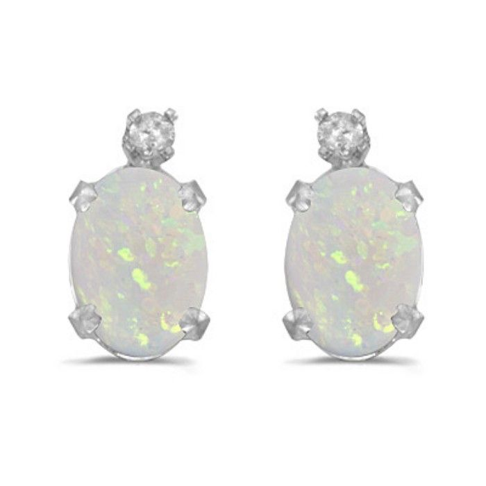 1/3ct Oval Opal And Diamond Earrings in 14k White Gold