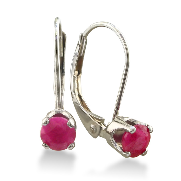 1/2ct Solitaire Ruby Leverback Earrings, 14k White Gold