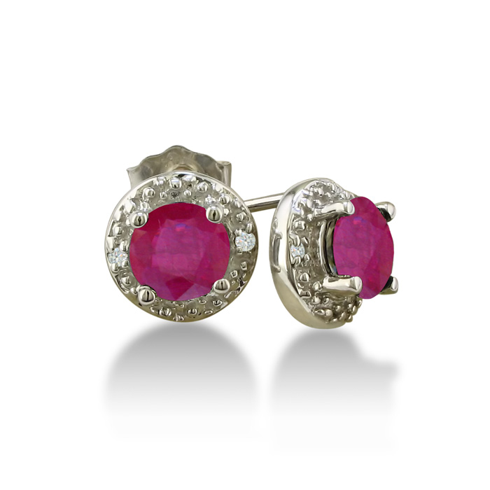 1ct Ruby Diamond Earrings, 10k White Gold