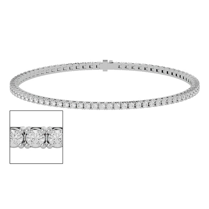 2 1/2 Carat Diamond Tennis Bracelet in White Gold 6 Inches