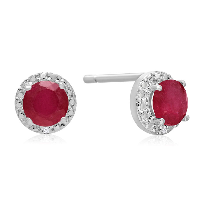 1ct Natural Ruby and Diamond Earrings in Sterling Silver