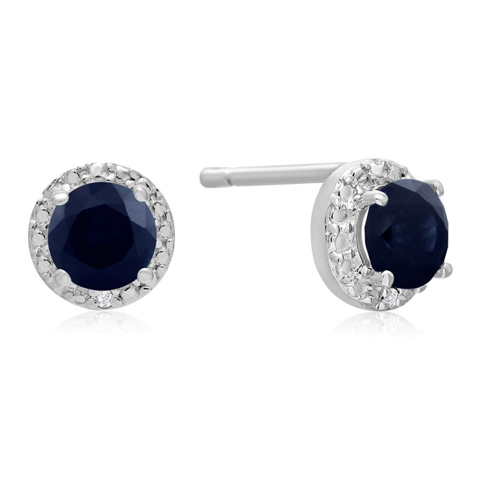 1ct Sapphire and Diamond Halo Earrings in Sterling Silver