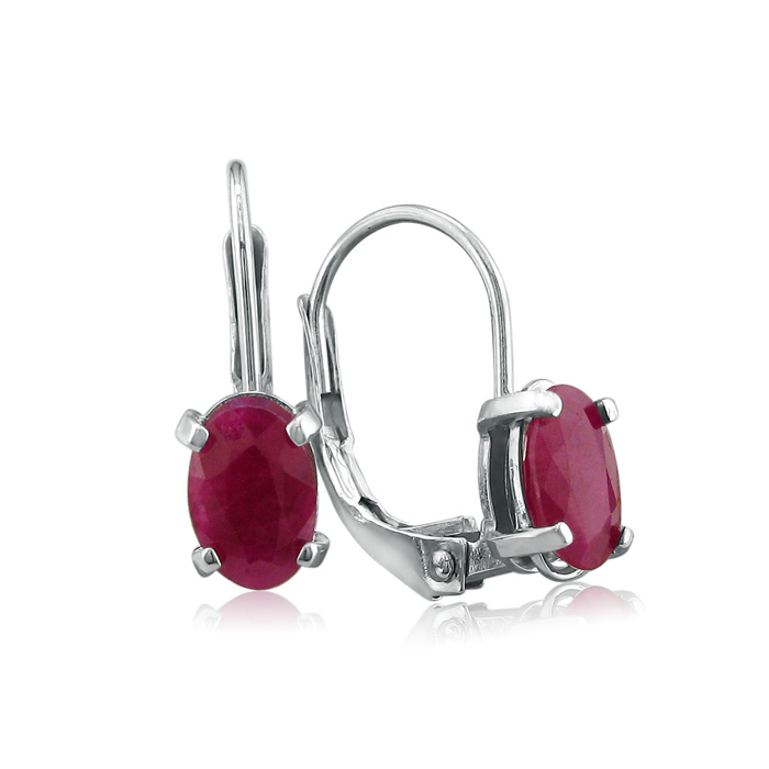 1.25ct Natural Oval Ruby Drop Earrings in Sterling Silver