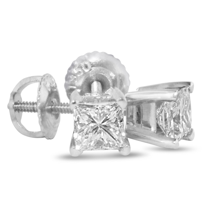 1 3/4ct Princess Diamond Stud Earrings In 14k White Gold, H/I, SI2/SI3