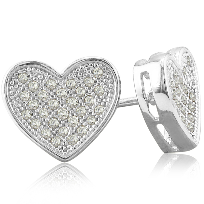 1/3ct Pave Set Diamond Heart Earrings in Sterling Silver