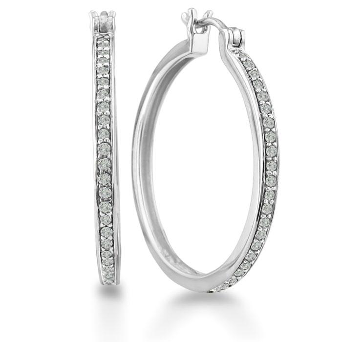 1/2ct Diamond Hoop Earrings in Sterling Silver, Over 1 Inch