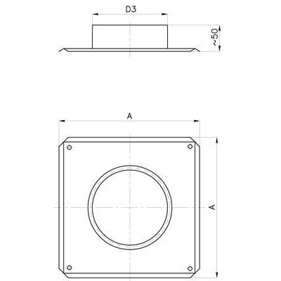 Komínový střešní přechod, pro systém s izolací 30 mm