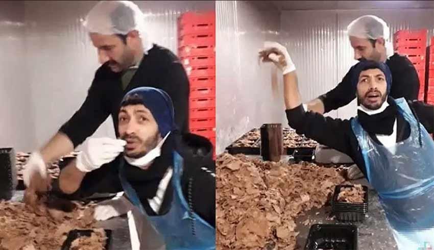 Hazır döner paketleyen iki çalışanın paylaştığı video mide bulandırdı