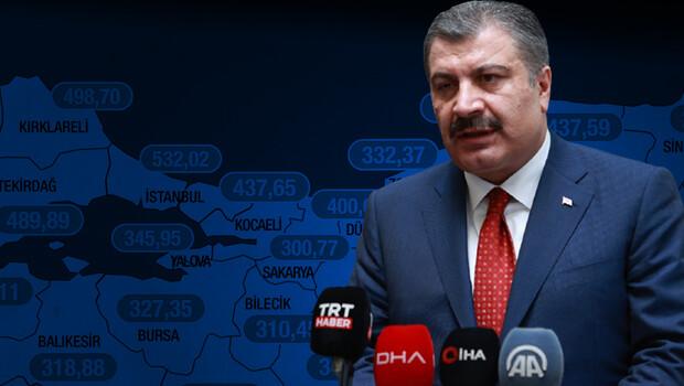 Son dakika haber… Sağlık Bakanı Koca, illere göre haftalık vaka sayısı haritasını paylaştı