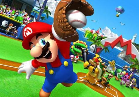 Top 10 Multiplayer Mario Games Mario catching a baseball in Mario Super Sluggers