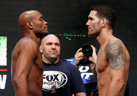 A. Silva (esq.) vs C. Weidman (dir.) gerou a quinta maior renda de um evento de MMA em Nevada. Foto: Josh Hedges/UFC