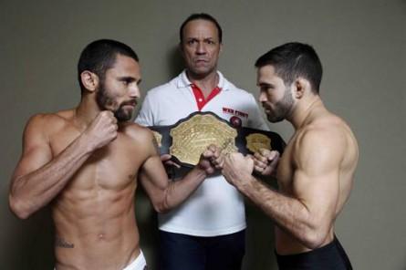 Eduardo Kiko (esq.), Vavá Andrade (promotor do evento) e Pedro Nobre (dir.) disputam cinturão do WFC 2.