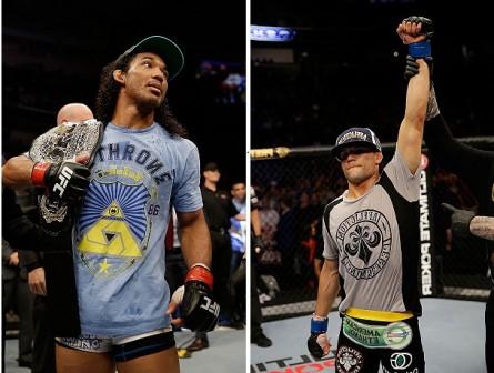 Ex-campeão B. Henderson (esq.) encara J. Thomson (dir.) em janeiro. Foto: Produção MMA PRESS (UFC/Divulgação)