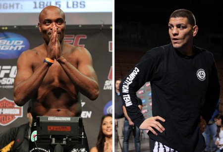A. Silva (esq.) x N. Diaz (dir.) acontece no UFC 183. Foto: Produção Super Lutas (Divulgação/UFC)