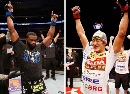 T. Woodley (esq.) enfrenta D.H. Kim (dir.) em agosto. Foto: Produção SUPER LUTAS (Divulgação/UFC)