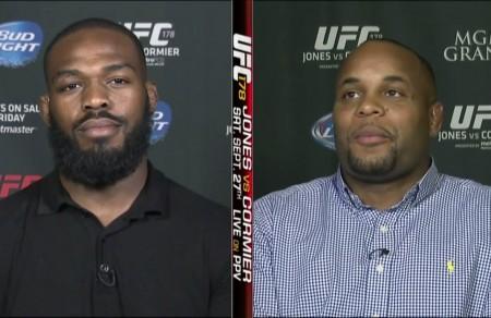 J. Jones (esq.) e D. Cormier (dir.) durante a entrevista para a ESPN. Foto: Reprodução/YouTube