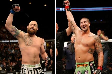 T. Browne (esq.) encara B. Schaub (dir.) no UFC 181. Foto: Produção Super Lutas (Josh Hedges/UFC)
