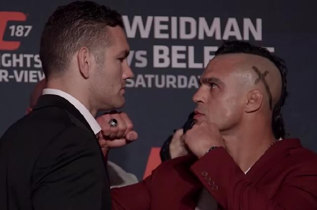 Weidman (esq.) e Belfort (dir.) se olharam fixamente durante encarada. Foto: Reprodução