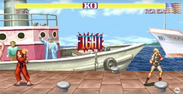 Ronda virou personagem de videogame em sátira. Foto: Reprodução