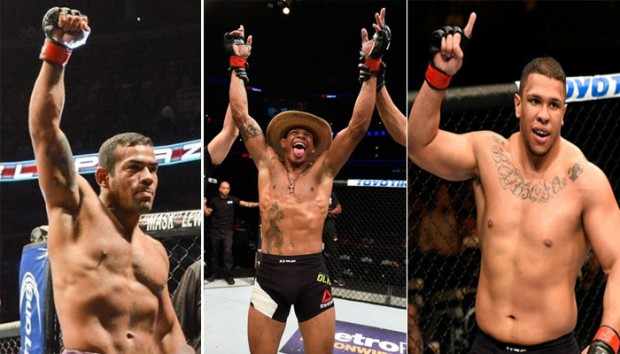 M. Trator (esq.), A. Cowby (c) e KLB (dir.) venceram no card preliminar do UFC Chicago