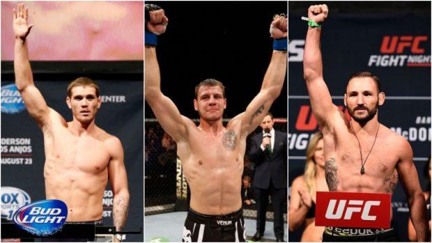 Mein (esq), Krylov (centro) e Vanatta (dir) estarão em ação no UFC 206. (Foto: Produção SUPER LUTAS (Divulgação/UFC)