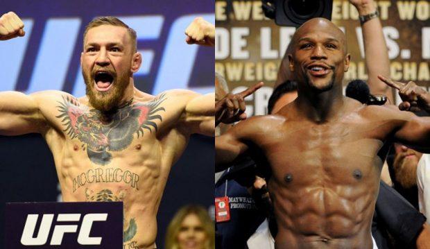 C. McGregor (esq) e F. Mayweather (dir) podem se enfrentar em junho (FOTO: UFC/Divulgação)