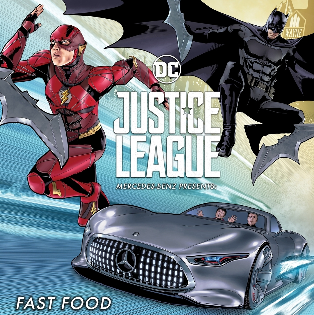 Justice league movie online comic book fast food for Justice league mercedes benz