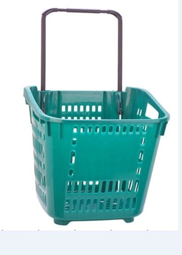 Large Capacity Shopping Basket With Wheels Plastic Rolling