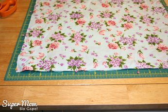 Pin 17 inch squares of fabric right sides together