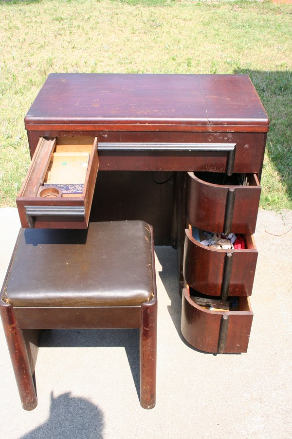 Art Deco Sewing Machine Cabinet - 2 - An Art Deco Cabinet For My Singer 15-91 - Super Mom - No Cape!