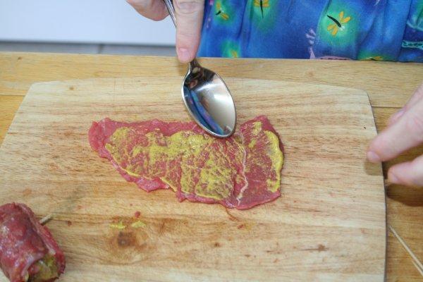 spread a little mustard on each piece of beef