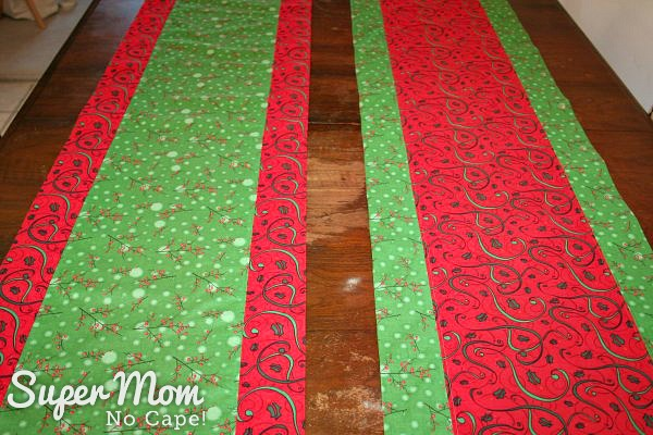 Close up photo of the 2 One Hour Table Runners showing how one is the reverse of the other