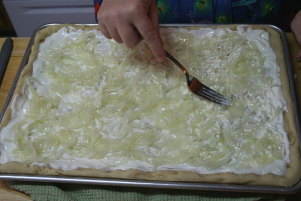 Spread onions around evenly