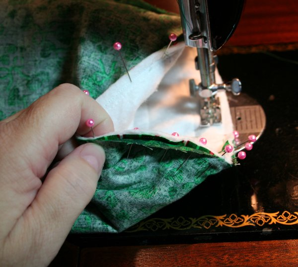 Sew around top of stocking and lining