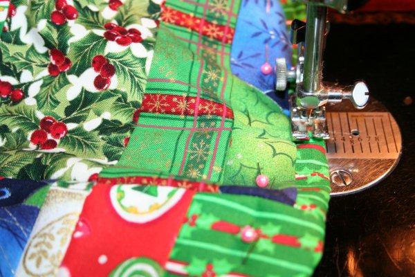 Topstitch around top of stocking