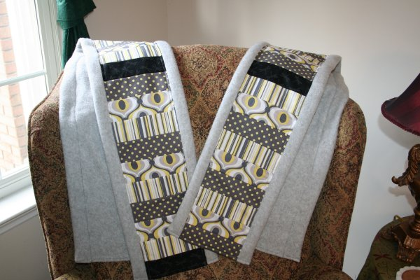 Grey patchwork scarves