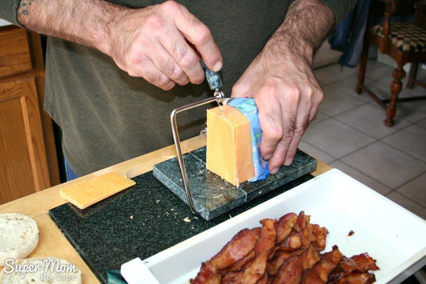 Homemade Breakfast Muffins - Slice the cheese