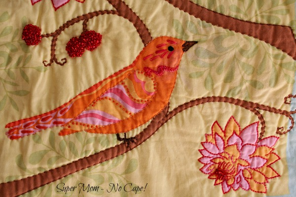 3 Closeup embellished orange bird