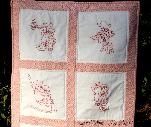 Close Up of Top of Vintage Chore Girl Wallhanging