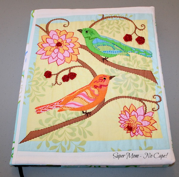 Embellished Journal Cover with Green and Orange Birds