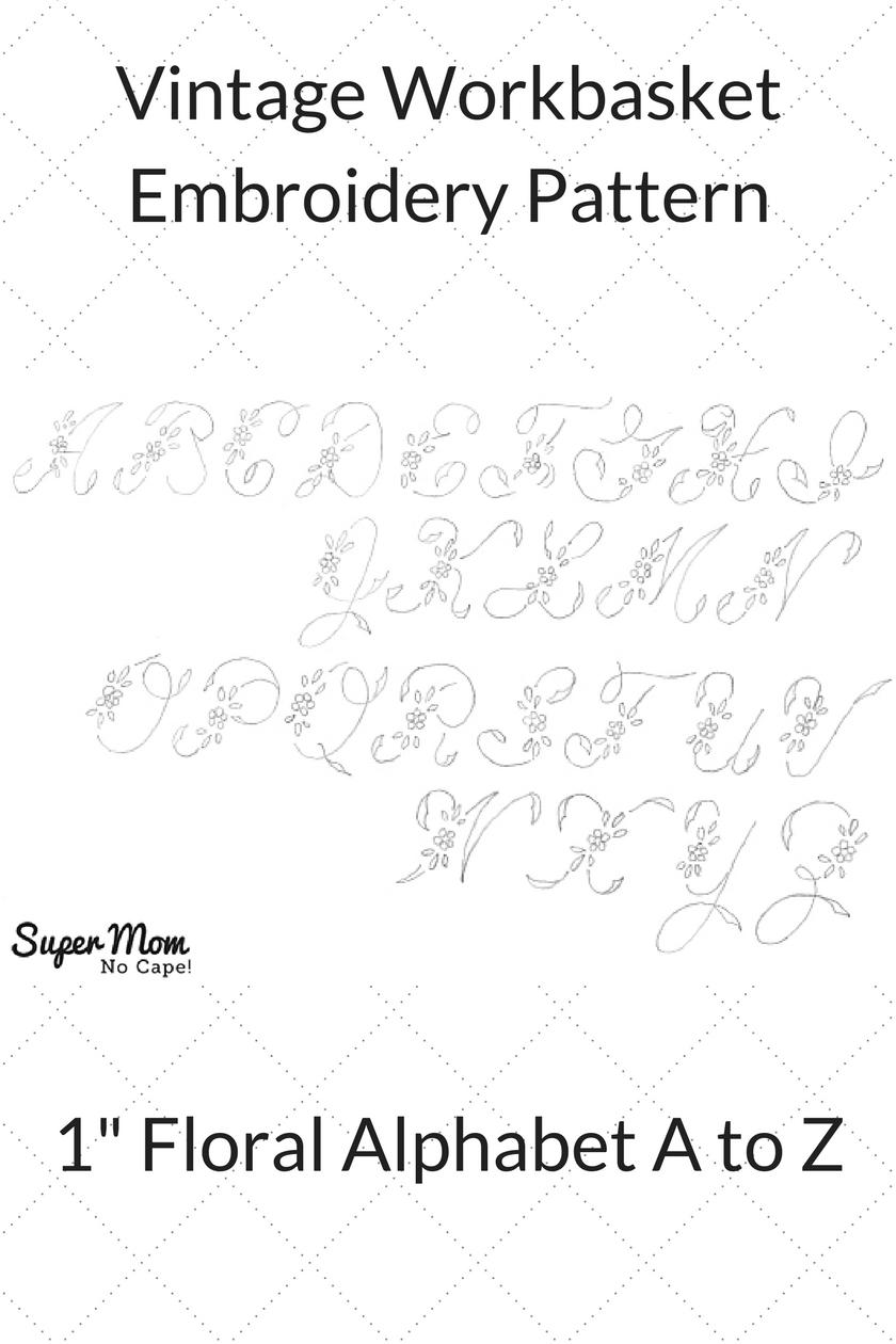 Vintage Workbasket Embroidery Pattern - Small 1 Inch Floral Alphabet