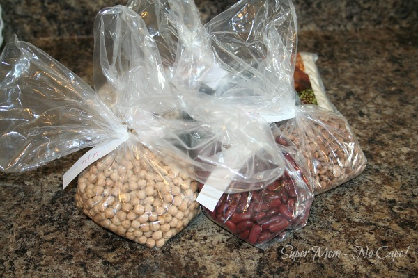 Bags of Dried Beans purchased at Bulk Barn