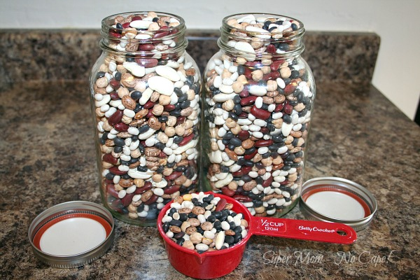 2 Quart Jars Filled with Dried Bean Soup Mix