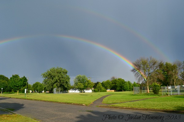 Photo of a double rainbow