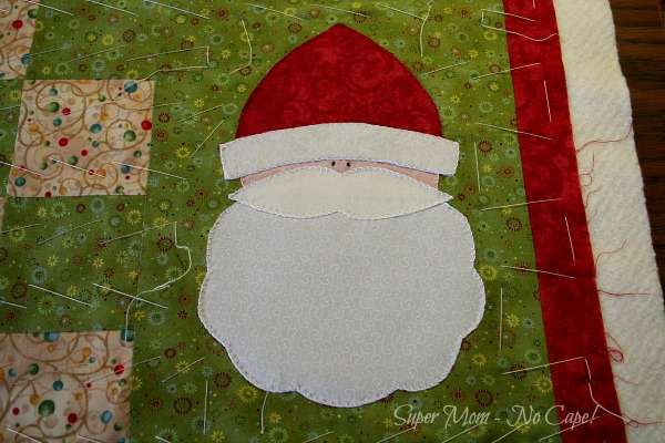 Close up of Santa Applique on the Tablerunner