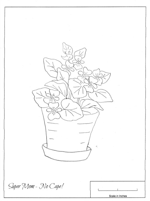 Workbasket embroidery pattern begonias in a pot