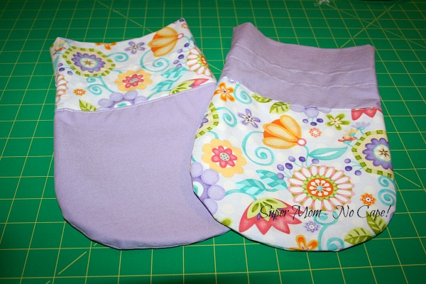 Photo of completed drawstring bags without drawstrings