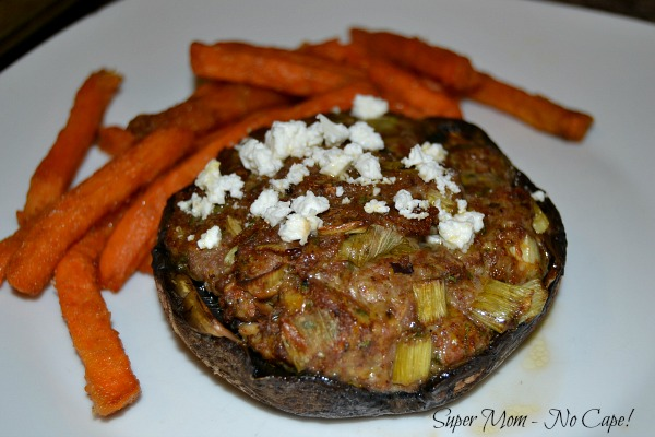 Photo of Lamb Stuffed Portobello Mushrooms topped with feta cheese