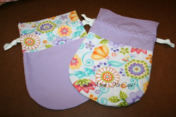 Purple and floral drawstring bags