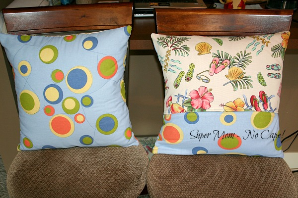 Improve quilted pillow, front on the left, back on the right